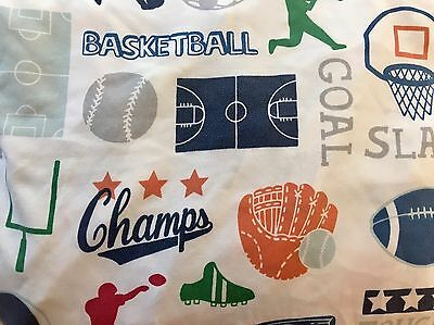"""Boys """"Go Team!"""" Sports Twin FITTED Bed Sheet Basketball Baseball Football Soccer"""