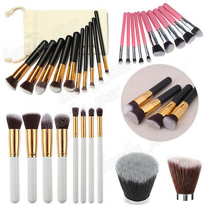 4/8/10 Pcs Kit/Set Makeup Brush Kabuki Flat Foundation Powder Cosmetic Brush Bag