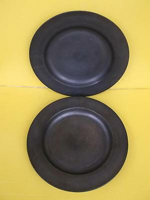 624 / Pair Of Antique 19Th Century Pewter Plates . Flash Marks To Bases.