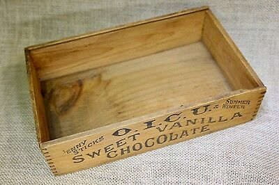 old SWEET VANILLA CHOCOLATE wood shipping crate box grocery store penny sticks
