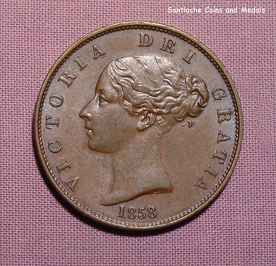 1858 QUEEN VICTORIA COPPER HALFPENNY - High Grade Coin With Lustre