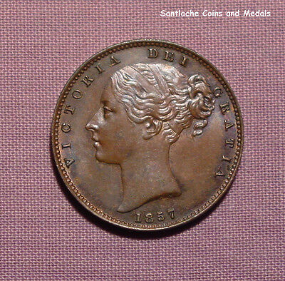 1857 VICTORIA COPPER FARTHING - Unbarred A in BRITANNIAR + Errors - HIGH GRADE