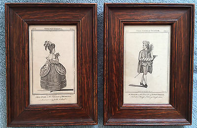1777 Two Framed Georgian Fashion or Theatre Prints Bell's British Theatre