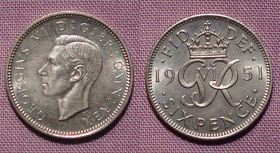 1951 KING GEORGE VI PROOF SIXPENCE - nFDC