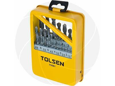 19pc Roll Forged Steel HSS High Speed Twist Metric Drill Bits Set Metal Drilling
