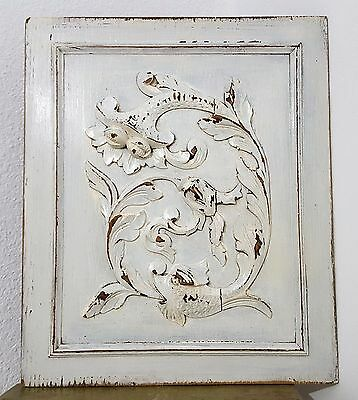 SHABBY CARVED WOOD GRIFFIN DRAGON PANEL ANTIQUE FRENCH SALVAGED CARVING 19th b