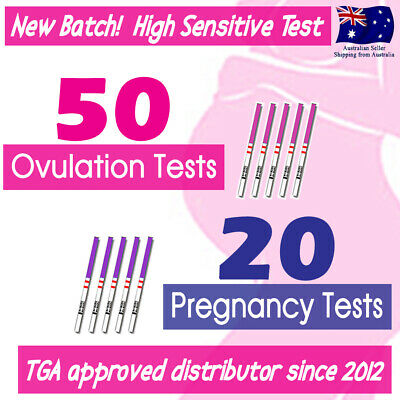 50x Ovulation Tests +20x Pregnancy Test Strips+20x Urine Cups Fertility OPK Kits