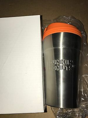 2014 Dunkin Donuts Stainless Steel Thermos Travel Mug Cup Orang Lid 14oz