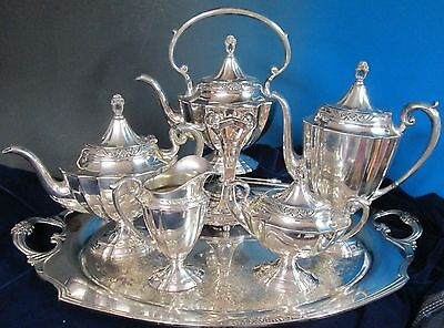 ETERNALLY YOURS Antique Silverplate 6 Pc Coffee Tea Svce Tilting Kettle & Tray