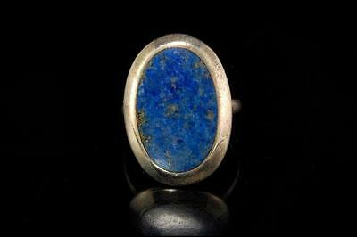Vintage Chinese Natural Cobalt Lapis 925 Sterling Silver Ring