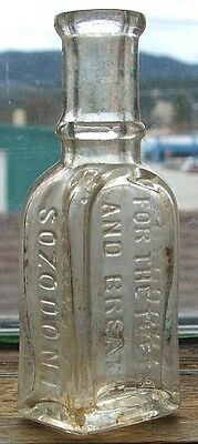 Tiny antique sample bottle SOZODONT FOR THE TEETH from 1800's # 2