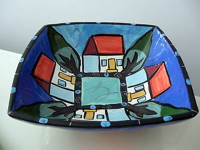 Gorgeous Hand Painted Square Bowl Italian Pottery Signed By Artist