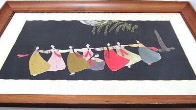 """Vintage Asian Embroidery on Silk """"Dancing Girls Under Moon"""" 14"""" x 21 Art Picture"""
