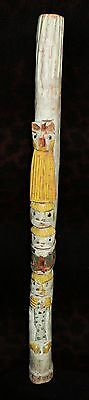 "Unusual Antique Painted NW Coast Cedar Totem Pole Fragment 24""h x 2.5""d"