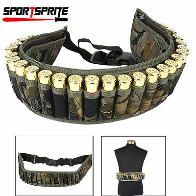 28 Round Tactical Shotgun Shell Belt Holder Waist Ammo Pouch Camo Bullet Strap