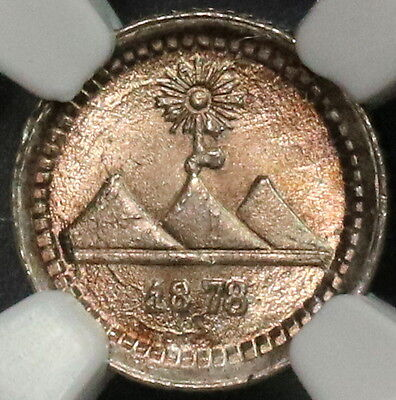 1878-G NGC MS 67 GUATEMALA Silver Volcano 1/4 Real Coin POP 6/2 (16112803C)