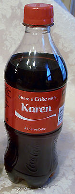 SHARE A COKE With KAREN Personalized Name COCA COLA Collectible Bottle 20 oz NEW