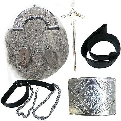 Brand New Rabbit Scottish Kilt Sporran/Pouch set/ Belt,Buckle,Pin,chain 5 Items