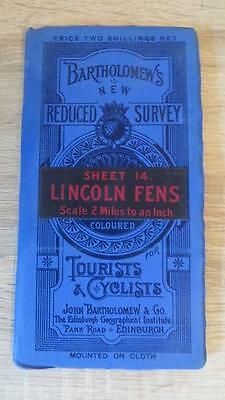 """c1920 """"BARTHOLOMEW'S MAP OF LINCOLN FENS - SHEET 14"""" 1/2 INCH TO ONE MILE"""