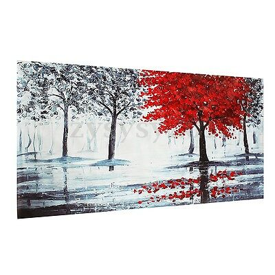 Red Black Tree Forest Canvas Painting Print Wall Art Picture Home Decor Unframed