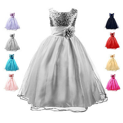Kid Girl Princess Flower Sequinned Party Wedding Bridesmaid Formal Dress