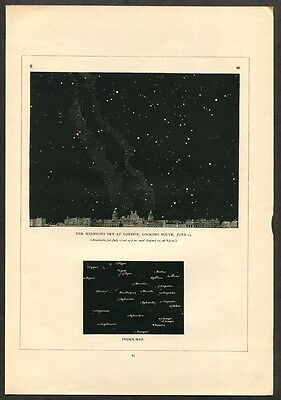 1891 Antique Astronomy Print of Stars / Sky Map / Constellations [B]