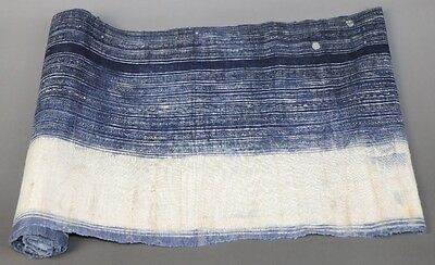 Vintage Tribe chinese miao people's homespun hand-woven fabric textile roll 2.6M