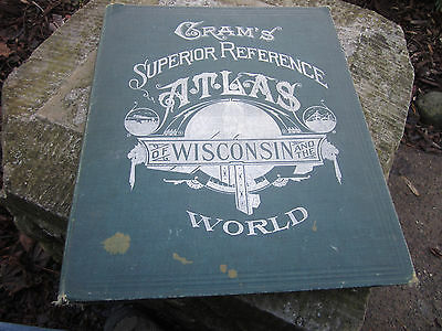 Vintage 1908 Crams World atlas Wisconsin WI Fancy Cover Book Madison