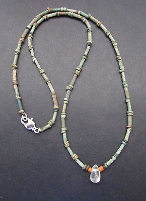 NILE  Ancient Egyptian Faience Rock Crystal Amulet Mummy Bead Necklace c 1000 BC