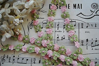 """18"""" Vintage French Ombre Pink Green Rococo Rosette Ribbon Work Flower Trim Doll"""