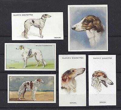 1929 - 1940 UK Dog Art Cigarette Card Collection x 6 BORZOI RUSSIAN WOLFHOUND