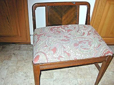 Vintage Art Deco Vanity Bench Wood Chair w Low Back 1960s Upholstered Seat