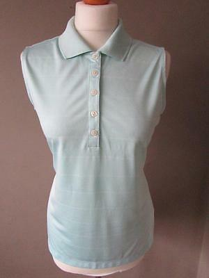 NIKE Ladies Pale Green Striped Dri Fit Sleeveless Golf Top W/ Collar Size M VGC