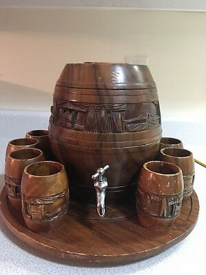 VINTAGE WOOD MINI KEG BARREL DISPENSER W/wooden Tray, 11 Cups