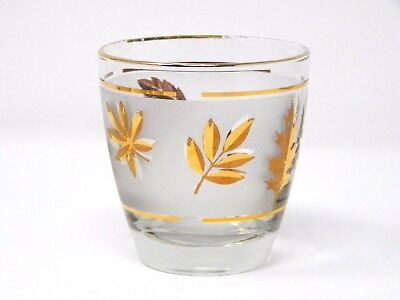 Vintage Libbey Autumn Fall Frosted Gold Leaf Whiskey Glass 6 oz 1950 Retro 3 3/8