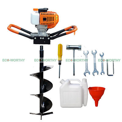 1.8KW Earth Auger/ Hole Digger Gasoline 52cc One-man with 4 inch Auger Bits Set