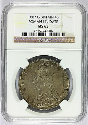 1887 Great Britain 4 Shillings Double Florin ROMAN I Silver Coin - NGC MS 63