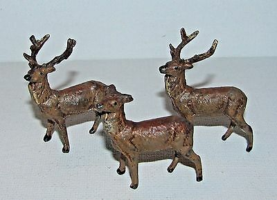 Three VERY SMALL Putz Christmas Lead Deer Stag Figures Most Likely German
