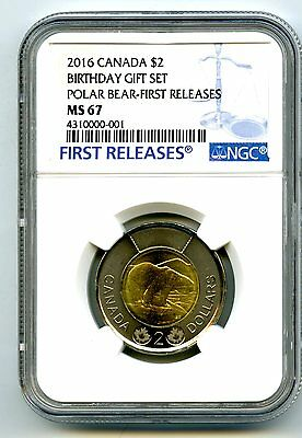 2016 Canada $2 Polar Bear Happy Birthday Set Toonie Ngc Ms67 Fr 001 Top Pop=4