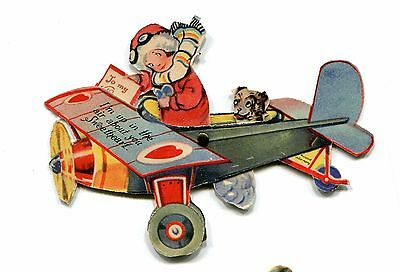 Vintage Valentine Card GIRL IN AN AIRPLANE W DOG mechanical
