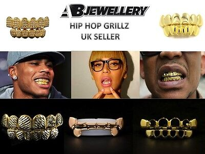 Gold Grillz 24K Plated Grills Bling Hip Hop Teeth Gangster mens women boys girls