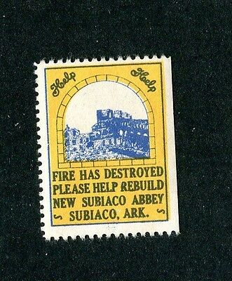 Vintage Poster Stamp Label NEW SUBIACO ABBEY Arkansas Rebuilding Fund post fire