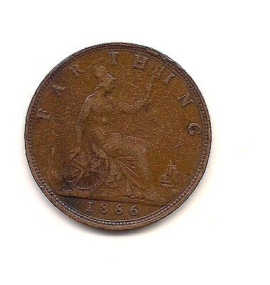 1886 Great Britain Farthing--Very Strong Hair Details !!