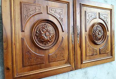 Matched Pair Gothic Cabinet Door Panel Antique French Carved Wood Rosace Carving