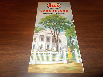 1949/50 Esso Long Island Vintage Road Map / Near-MINT Condition !!