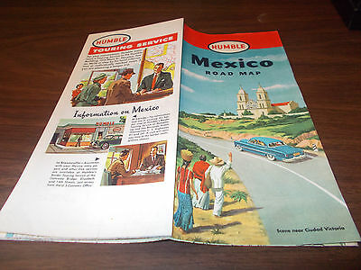 1952 Humble Oil Mexico Vintage Road Map / Nice Graphics/ Scarce !!