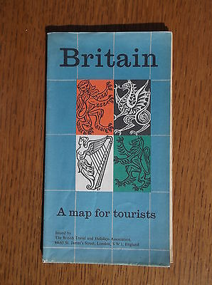 BRITAIN A MAP FOR TOURISTS c1959/60 DOUBLE-SIDED BRITISH TRAVEL & HOLIDAYS ASSOC