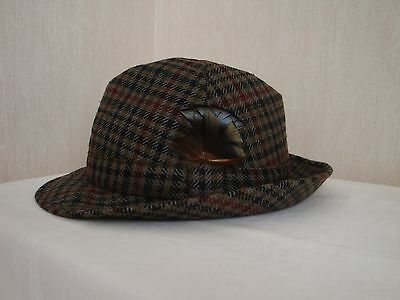MENS VINTAGE TRILBY HAT 02898 ALL WOOL DUNN & CO SIZE 7 3/8in CHECK VGC - CLEAN!