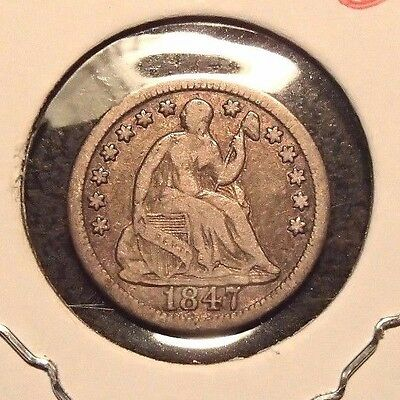 1847 Seated Silver Half Dime Nice Circulated Coin
