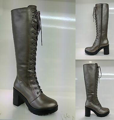 dfd5fc8e4f0 New Chunky Heel Platform Gothic Punk Knee High Mid Combat Lace Up Boots  Shoes